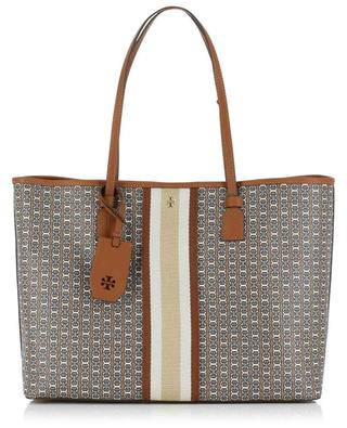 Gemini Link printed canvas and leather tote bag TORY BURCH