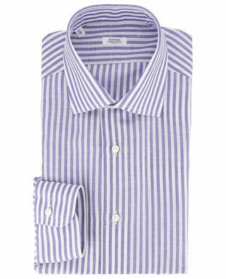 Gestreiftes Hemd aus Baumwolle und Leinen BARBA
