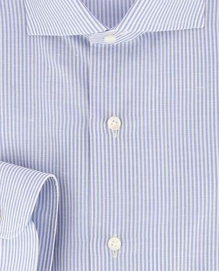 Gestreiftes Slim-Fit Hemd aus Baumwolle und Leinen BARBA