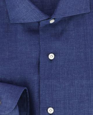 Einfarbiges Slim-Fit Hemd aus Leinen BARBA