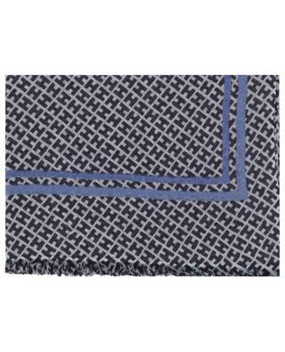 Radestripe monogrammed wool and linen scarf HEMISPHERE