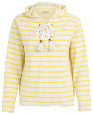 Sweat-shirt rayé à capuche en coton éponge BLUE LEMON