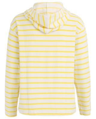 Terry cloth hooded striped sweatshirt BLUE LEMON