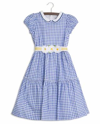 Gingham check dress with floral belt MONNALISA