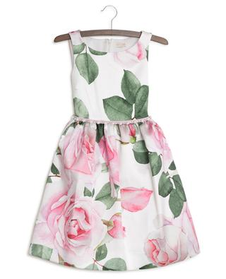 Sleeveless rose print adorned dress MONNALISA