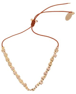 Tan Lines cord bracelet with 41 golden beads BY JOHANNE