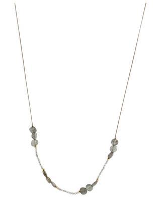 Pictogram labradorite adorned cord necklace BY JOHANNE