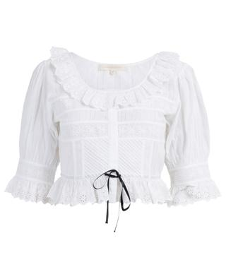 Tiana cropped embroidered top LOVESHACKFANCY
