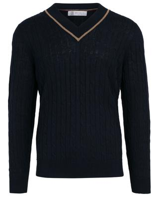 Linen and cotton cable knit jumper BRUNELLO CUCINELLI