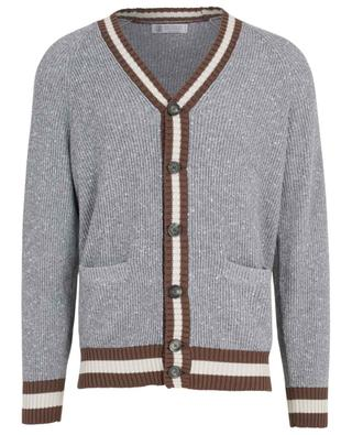 Cotton, silk and cashmere blend thick cardigan BRUNELLO CUCINELLI