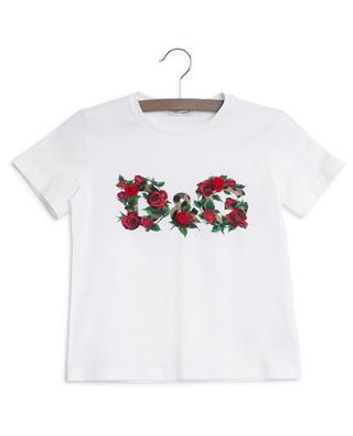 DG Leo logo and rose embellished T-shirt DOLCE & GABBANA