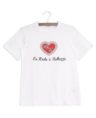 Baumwoll-T-Shirt mit Print und Strass DOLCE & GABBANA