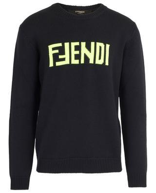 Strickpullover aus Schurwolle mit neofarbenem Logo FENDI