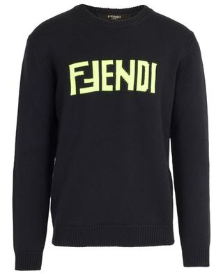 Fluorescent logo adorned virgin wool knit jumper FENDI