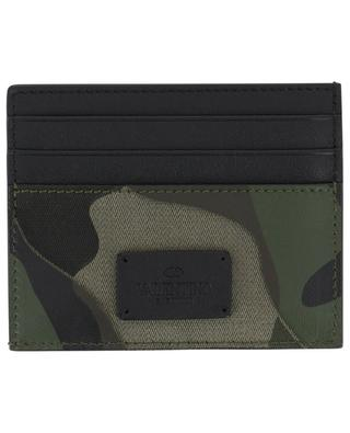 Camouflage print leather card holder VALENTINO