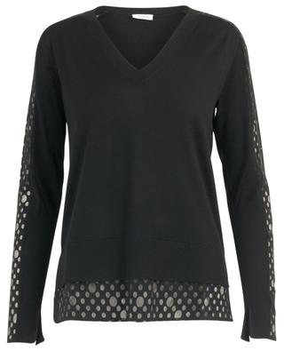 V-neck jumper with inserts AKRIS PUNTO