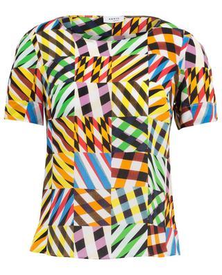 Top en soie imprimé d'un patchwork graphique AKRIS PUNTO