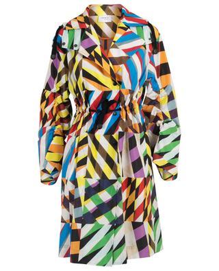 Imperméable trois-quarts multicolore Patchwork-Print AKRIS PUNTO
