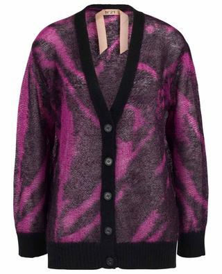 Animal Stripe loose button-down jacquard cardigan N°21
