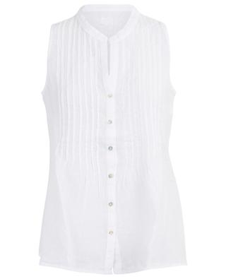 Sleeveless shirt with tucks 120% LINO