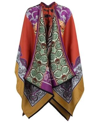 Wool and silk blend open poncho ETRO