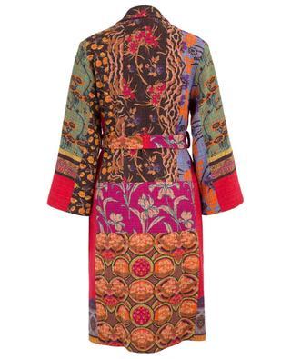 Patchwork print long straight oversize coat ETRO