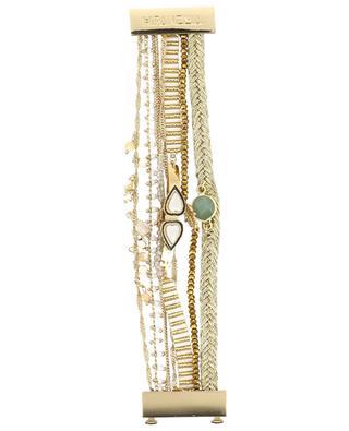 Goldenes mehrsträngiges Armband Splendor White HIPANEMA