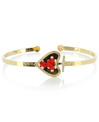 Alpha gold-plated heart adorned bangle bracelet CAMILLE ENRICO