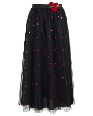 Tulle midi skirt embroidered with sequin hearts RED VALENTINO