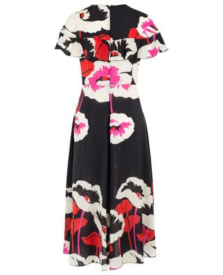 Long ruffled and floral printed silk dress RED VALENTINO