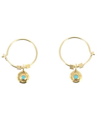 Evan golden turquoise adorned hoop earrings 5 OCTOBRE