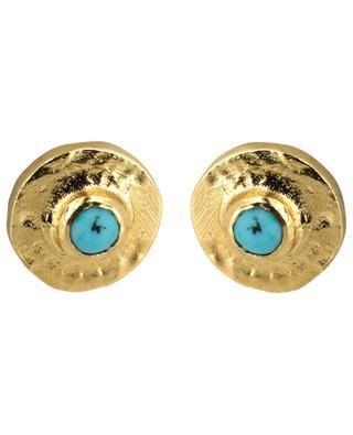 Clous d'oreilles dorés avec turquoise Feliz 5 OCTOBRE