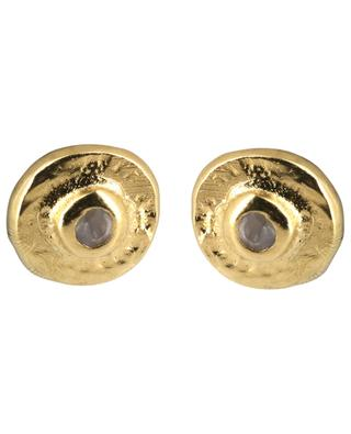 Feliz golden ear studs with moonstone 5 OCTOBRE