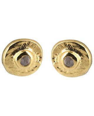 Clous d'oreilles dorés avec pierre de lune Feliz 5 OCTOBRE