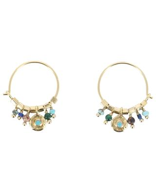 Suzie turquoise embellished gold hoop earrings 5 OCTOBRE