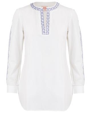 Kate Zig Zag Dori embroidered cotton tunic EMPORIO SIRENUSE POSITANO