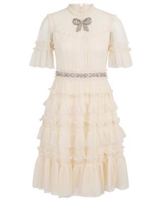 Kurzes Rüschenkleid aus Tüll Embellished Bow NEEDLE &THREAD