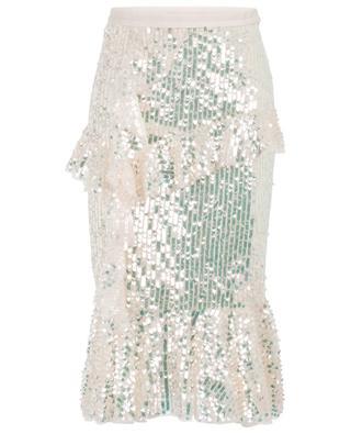 Scarlett Midaxi ruffled sequin embroidered midi skirt NEEDLE &THREAD