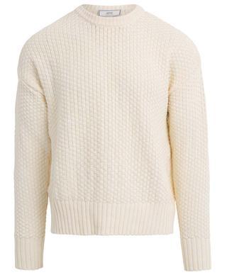 Baumwoll- und Leinenpullover mit Schachbrett-Textur AMI