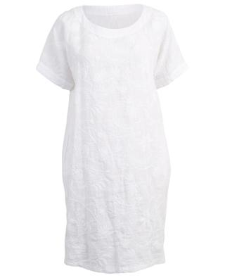 Gerades Kleid aus Leinen mit Blattstickereien 120% LINO
