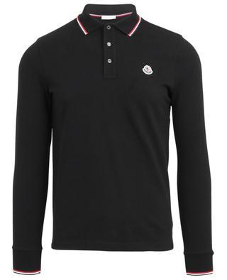 Slim-Fit-Polohemd mit langen Ärmeln und dreifarbigen Details MONCLER