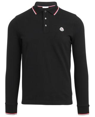 Long-sleeved slim fit polo shirt with tricolour details MONCLER