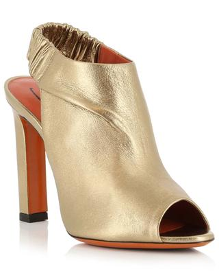 High heeled golden leather sandals SANTONI