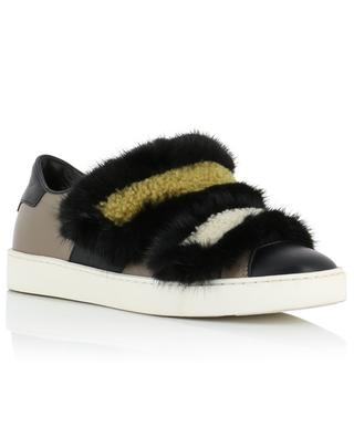 Low-top leather and fur sneakers with Velcro straps SANTONI