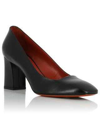 Smooth leather pumps with square toes and block heels SANTONI