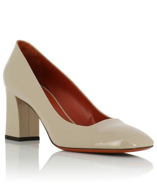 Square toe block heel patent leather pumps SANTONI