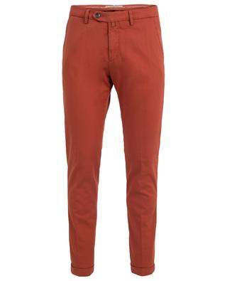 Textured cotton slim fit trousers B SETTECENTO