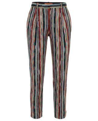 Mesh lamé striped tapered leg trousers MISSONI