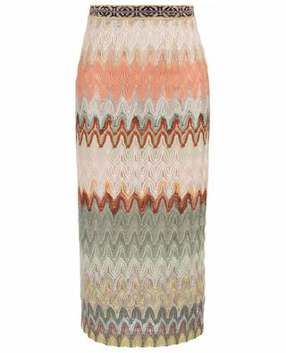Fitted openwork knit midi skirt with wave pattern MISSONI