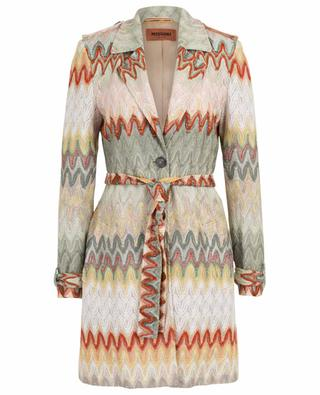 Multi-coloured knit lightweight trench coat MISSONI